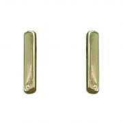 Yellow Gold Plated Sterling Silver Plain Bar Stud Earrings